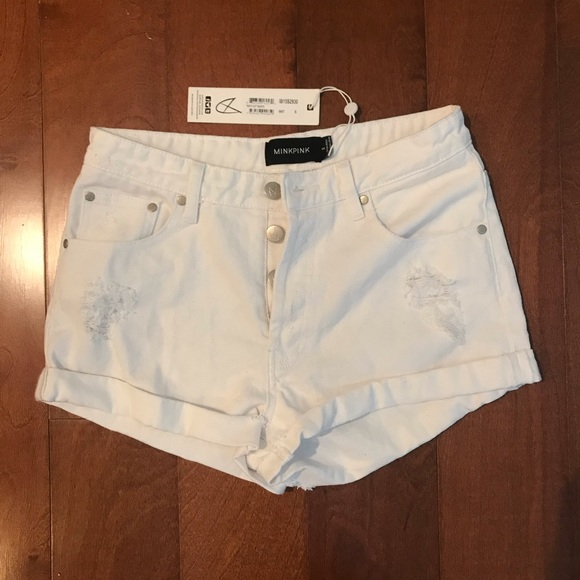 MINKPINK Pants - MINKPINK white jean shorts